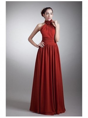 A Line Halter Floor Length Chiffon Australia Formal Evening Dress with Draping Flower Side Draping