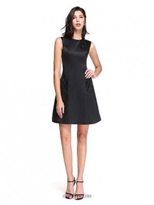 A Line Jewel Neck Short Mini Satin Australia Cocktail Party Homecoming Prom Dress with Appliques Pockets Sequins