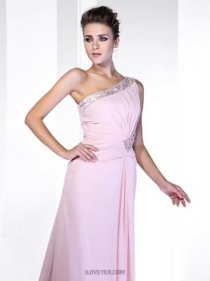 Sheath Column Sexy One Shoulder Sweep Brush Train Chiffon Prom Dress with Beading