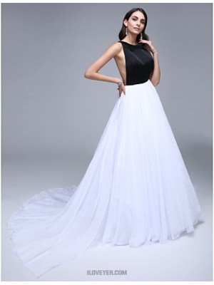 A Line Jewel Neck Court Train Chiffon Satin Australia Formal Evening Dress with Crystal Detailing