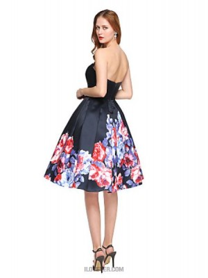 Ball Gown Sweetheart Knee Length Satin Australia Cocktail Party Homecoming Dress with Pleats