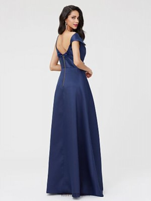 A Line Sexy One Shoulder Floor Length Satin Australia Formal Evening Dress with Beading Flower Pleats