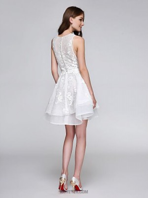 A Line Jewel Neck Short Mini Lace Tulle Australia Cocktail Party Homecoming Prom Dress with Beading Appliques Buttons