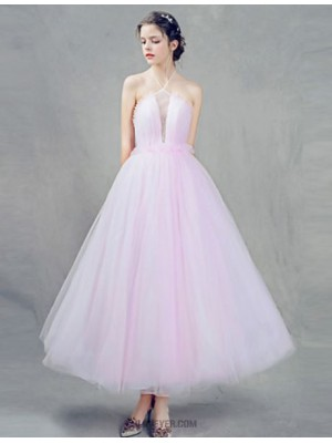 A Line Halter Ankle Length Tulle Australia Cocktail Party Prom Dress with Beading Pleats