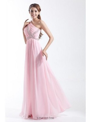 A Line Sexy One Shoulder Floor Length Chiffon Prom Australia Formal Evening Dress with Beading Side Draping