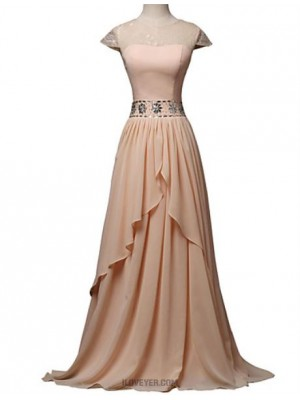A Line Jewel Neck Floor Length Chiffon Lace Evening Dress with Beading