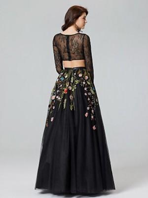 A Line Bateau Neck Floor Length Lace Tulle Australia Formal Evening Dress with Appliques