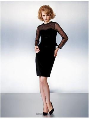 Sheath Column Jewel Neck Knee Length Velvet Homecoming Dress with Bow
