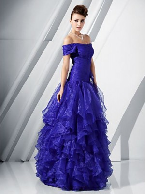 A Line Princess Off the shoulder Floor Length Organza Prom Dress with Flower