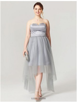 A Line Sweetheart Asymmetrical Satin Tulle Australia Cocktail Party Homecoming Dress with Sash Ribbon Pleats