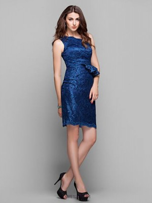 Sheath Column Sexy One Shoulder Knee Length Lace Prom Dress