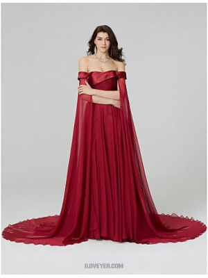 A Line Off the shoulder Court Train Chiffon Australia Formal Evening Dress with Beading Pleats