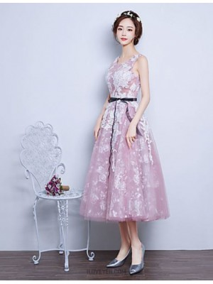 Ball Gown Jewel Neck Tea Length Lace Organza Prom Dress with Ribbon