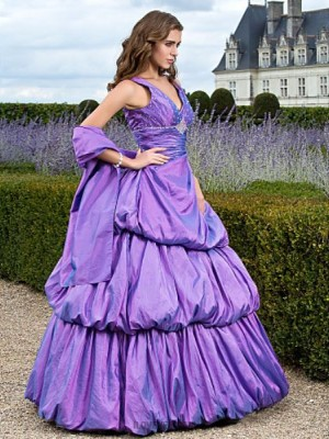 A Line Ball Gown Princess V neck Floor Length Taffeta Prom Quinceanera Dress with Beading