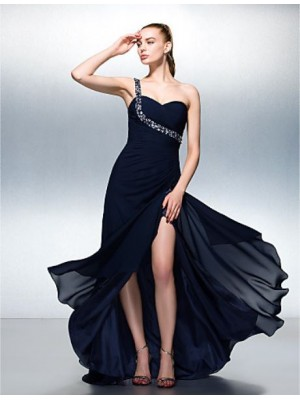 A Line Sexy One Shoulder Sweep Brush Train Chiffon Prom Dress with Beading