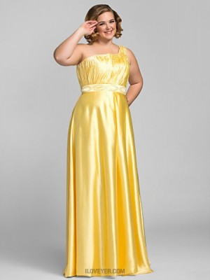 Sheath Column Sexy One Shoulder Floor Length Charmeuse Prom Dress with Beading