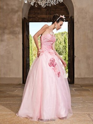 A Line Strapless Sweetheart Floor Length Organza Prom Dress