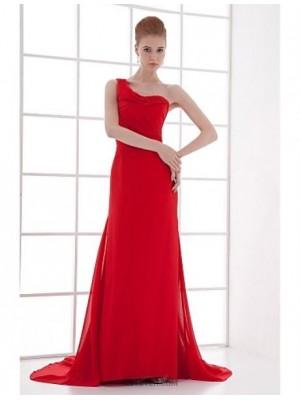 Sheath Column Sexy One Shoulder Court Train Chiffon Australia Formal Evening Dress with Pleats
