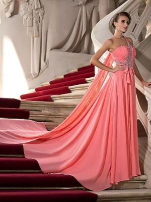 A Line Princess Sexy One Shoulder Court Train Watteau Train Chiffon Prom Dress with Beading