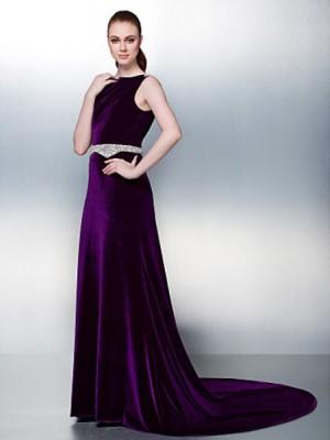 A Line Bateau Neck Court Train Velvet Australia Formal Evening Dress with Beading Pearl Detailing Sash Ribbon