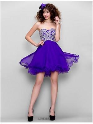 A Line Sweetheart Short Mini Chiffon Homecoming Prom Dress with Beading