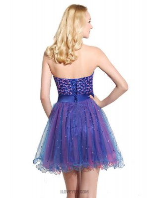 Ball Gown Sweetheart Knee Length Organza Prom Dress with Sequins
