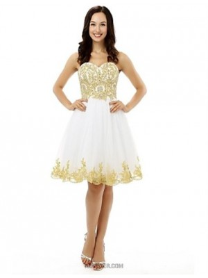 A Line Sweetheart Knee Length Tulle Australia Cocktail Party Homecoming Dress with Beading Appliques Crystal Detailing Sequins