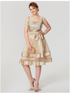 A Line Scoop Neck Knee Length Satin Tulle Sequined Australia Cocktail Party Homecoming Dress with Bow Sequins Tiered