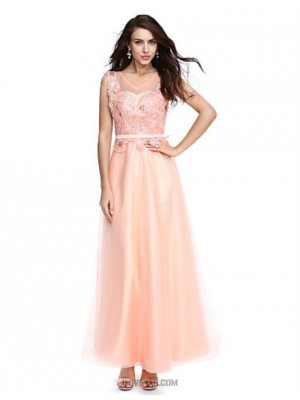 A Line Jewel Neck Floor Length Lace Tulle Sequined Prom Dress with Beading