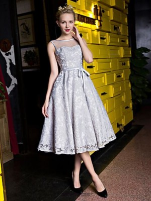 A Line Scoop Neck Tea Length Lace Organza Prom Dress with Pearl