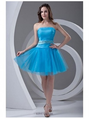 A Line Strapless Short Mini Tulle Australia Cocktail Party Prom Dress with Beading Draping Sash Ribbon