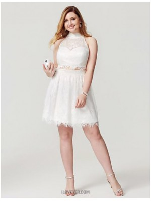 A Line High Neck Knee Length Lace Australia Cocktail Party Homecoming Dress with Beading Buttons