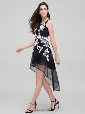 A Line Straps Asymmetrical Tulle Australia Cocktail Party Prom Dress with Appliques Lace