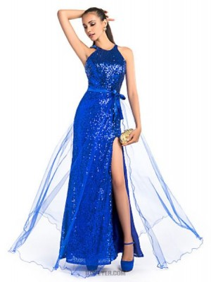 Sheath Column Jewel Neck Floor Length Tulle Prom Dress with Sash
