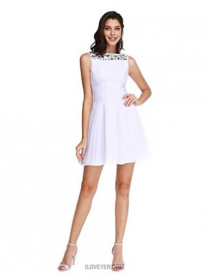 A Line Bateau Neck Short Mini Chiffon Australia Cocktail Party Homecoming Prom Dress with Crystal Detailing Draping Ruching