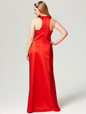 Sheath Column Scalloped Floor Length Satin Australia Formal Evening Dress with Pockets Split Front