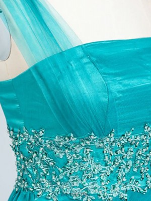 A Line Sexy One Shoulder Floor Length Satin Tulle Evening Dress with Beading