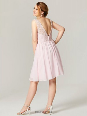 A Line Jewel Neck Knee Length Chiffon Lace Australia Cocktail Party Homecoming Dress with Beading Crystal Detailing Sash Ribbon