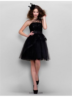 A Line Sexy One Shoulder Knee Length Tulle Prom Dress with Lace