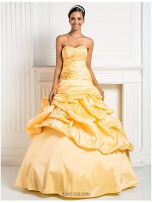 A Line Strapless Sweetheart Floor Length Taffeta Prom Dress