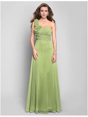 A Line Sexy One Shoulder Floor Length Chiffon Prom Dress withCrystal Detailing Draping Flower