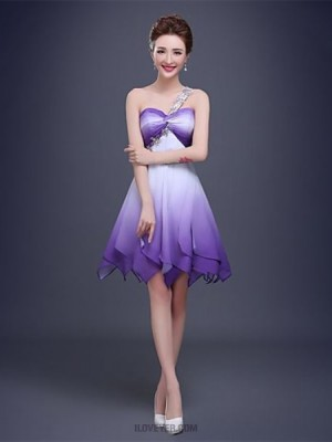 A Line Sexy One Shoulder Knee Length Chiffon Australia Cocktail Party Prom Dress with Crystal Detailing