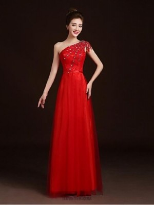 A Line Sexy One Shoulder Floor Length Lace Satin Tulle Prom Dress with Beading