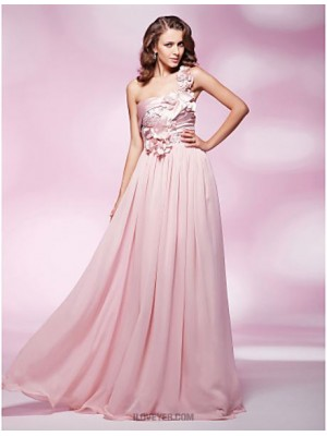 Sheath Column Sexy One Shoulder Floor Length Chiffon Prom Dress with Beading
