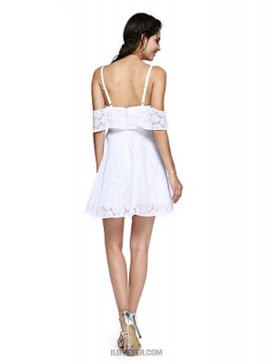 A Line Spaghetti Straps Short Mini Cotton Australia Cocktail Party Homecoming Prom Dress with Ruffles