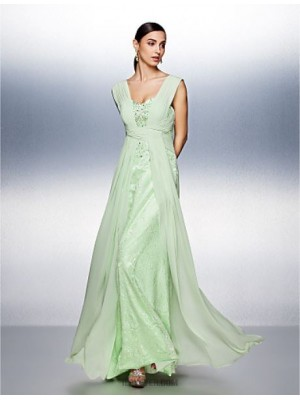 A Line Straps Floor Length Chiffon Tulle Prom Dress with Beading Lace Side Draping