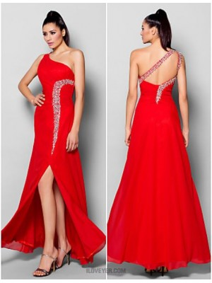 Sheath Column Sexy One Shoulder Floor Length Chiffon Australia Formal Evening Dress with Beading Crystal Detailing Split Front