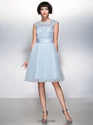 A Line Jewel Neck Knee Length Lace Tulle Australia Cocktail Party Prom Dress with Lace