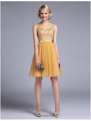 A Line Bateau Neck Knee Length Tulle Australia Cocktail Party Homecoming Prom Dress with Appliques Sash Ribbon