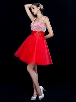A Line Scoop Neck Short Mini Tulle Prom Dress with Beading